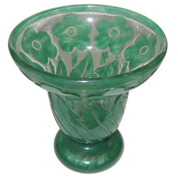 Degue Cameo Glass Footed Vase