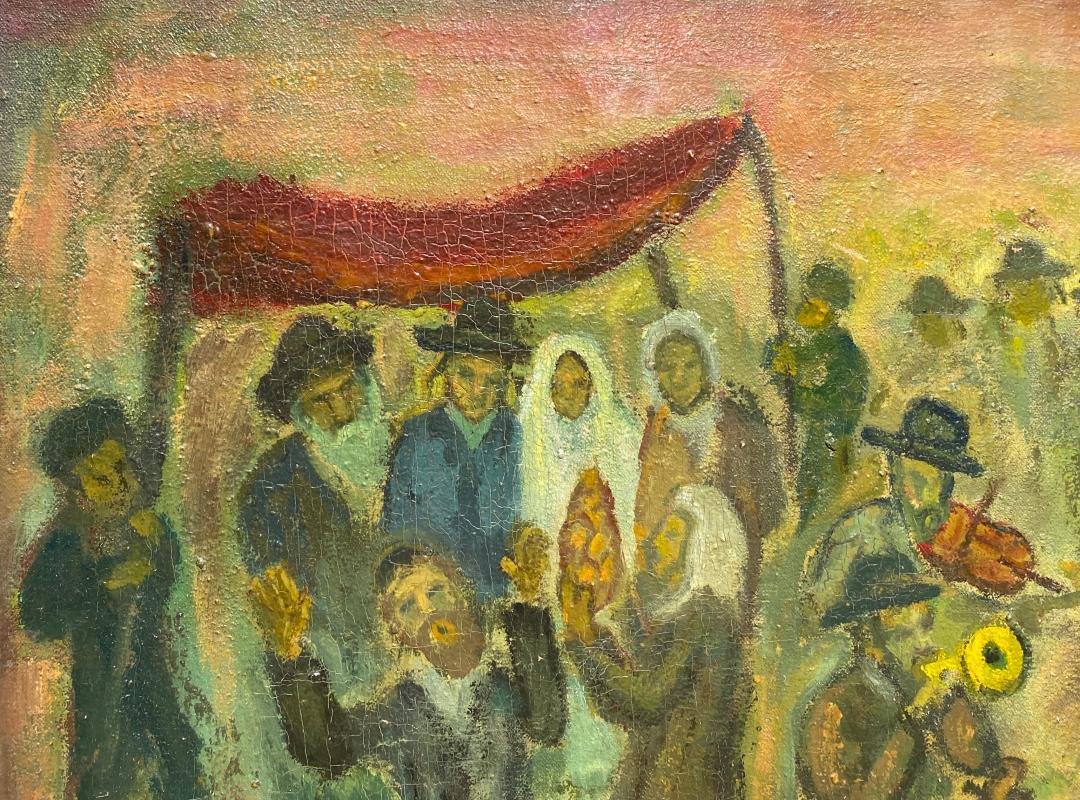 Simon Karczmar (Polish, 1902-1982) Oil Painting of Jewish Wedding