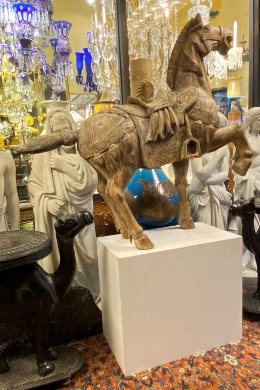 Antique Chinese Carved Wooden Horse Sculpture