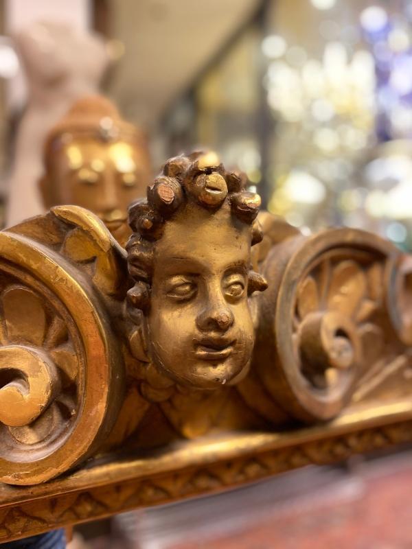 Baroque Style Giltwood Overmantel Mirror