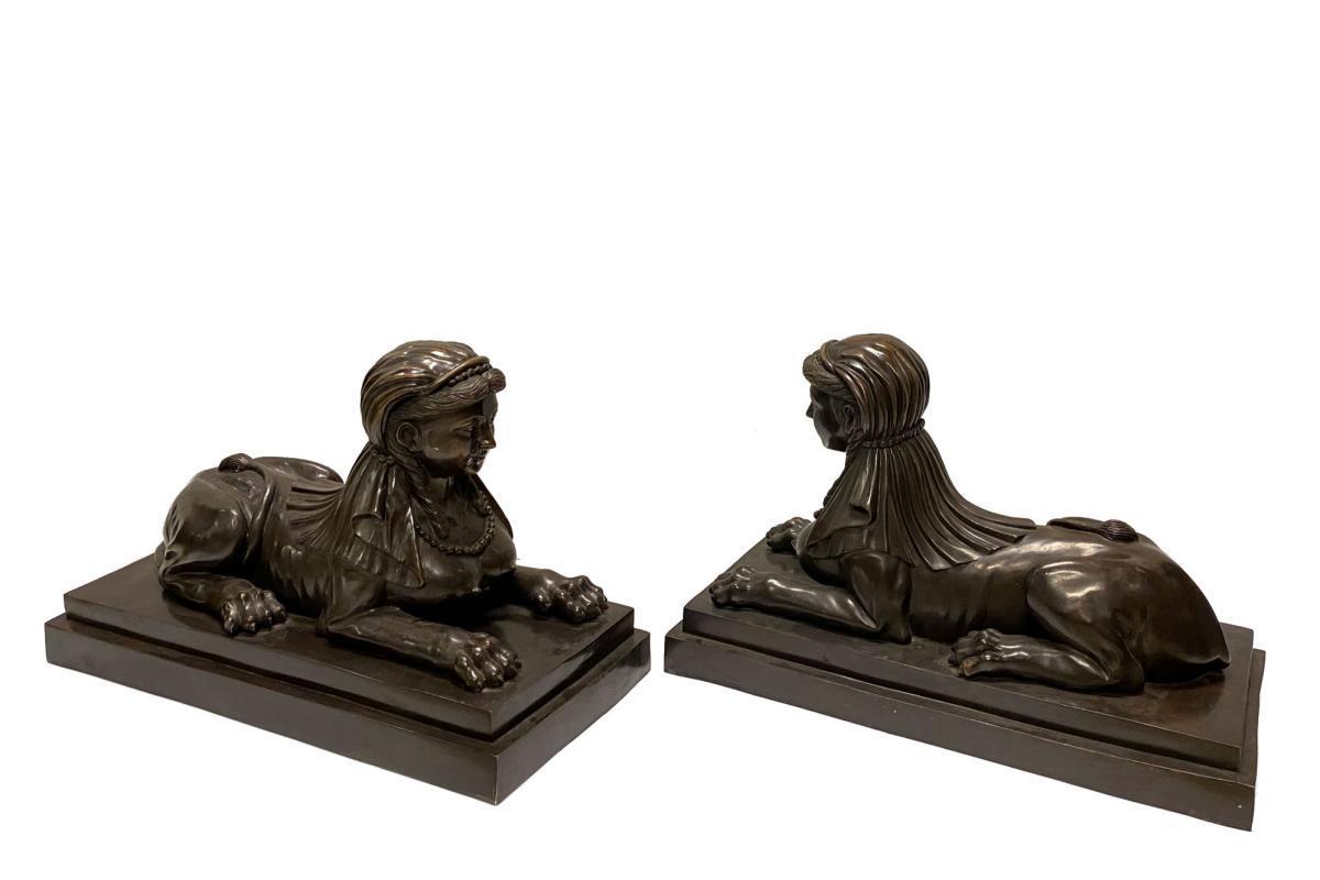 Pair Mid-Century Bronze Sphinx Sculptures (17 in tall)