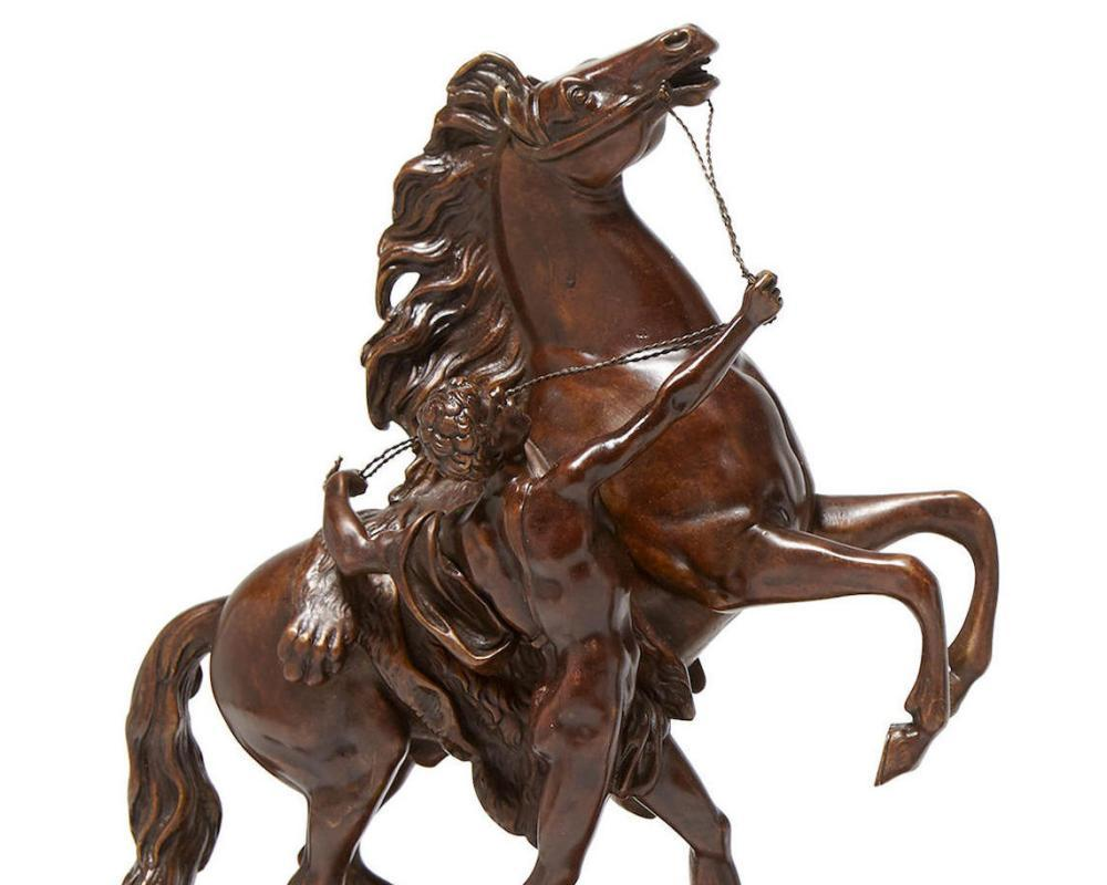 Pair Bronze Marly Horses After Guillaume Coustou I (1677-1746)