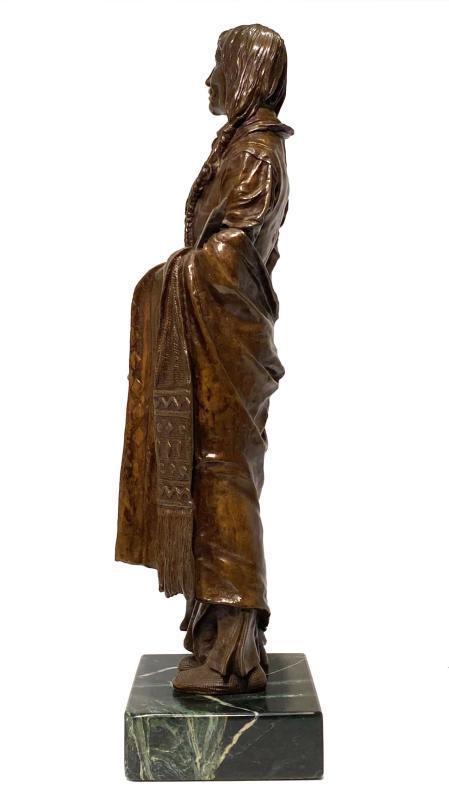 Chief Wolf Robe Cheyenne Indian Bronze Sculpture After Carl Kauba