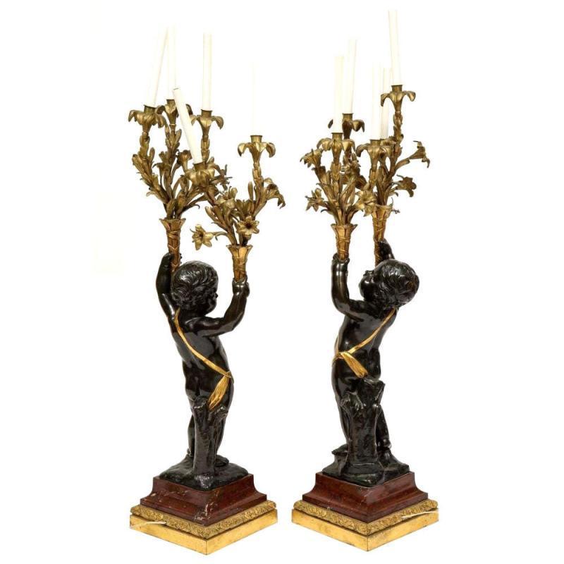 Pair Large Cherub Putti Figural Bronze Candelabra Lamps