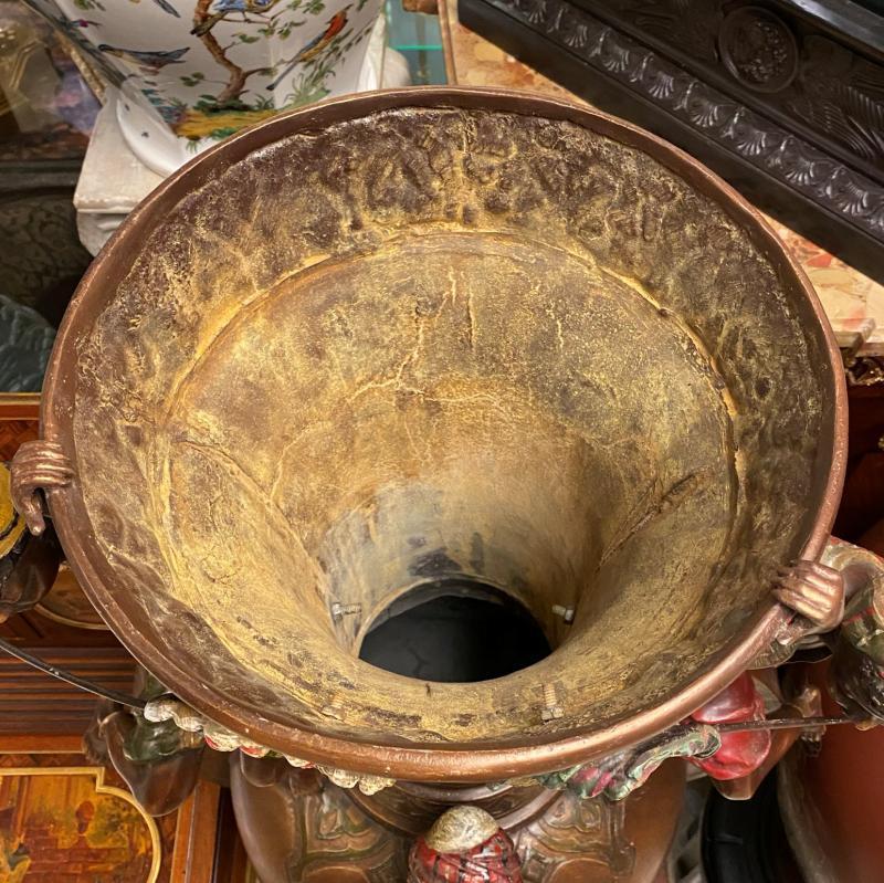 Pair Monumental Austrian Orientalist Figural Bronze Vases (46 in)