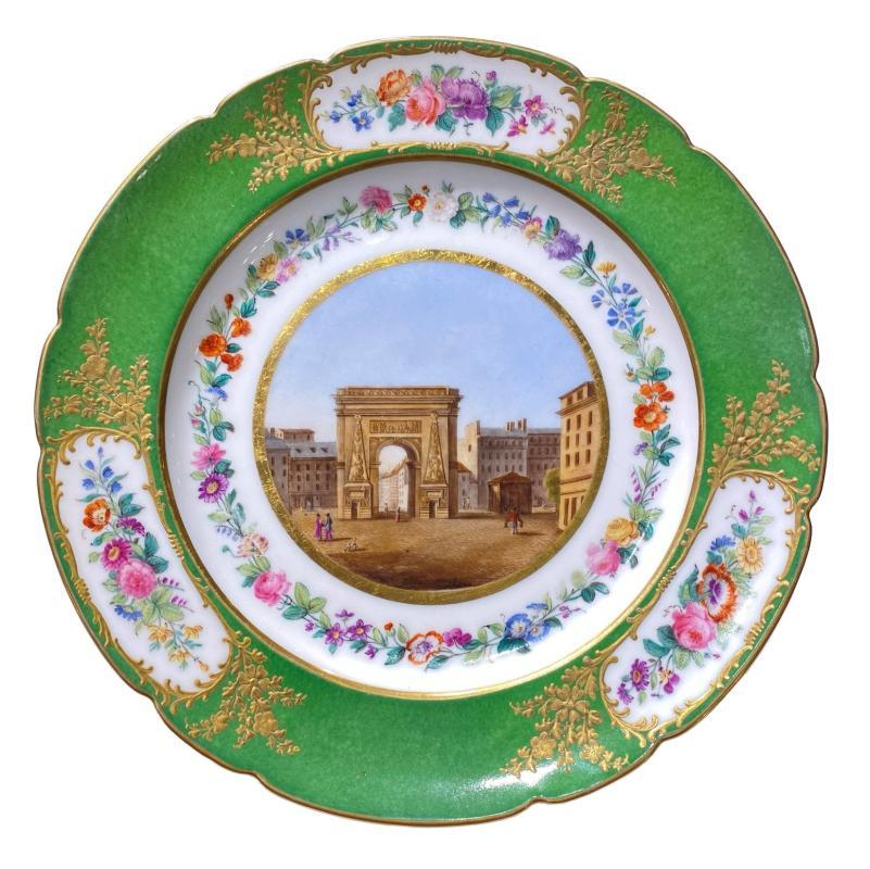 Collection Six Paris Porcelain Plates Depicting Historic Buildings