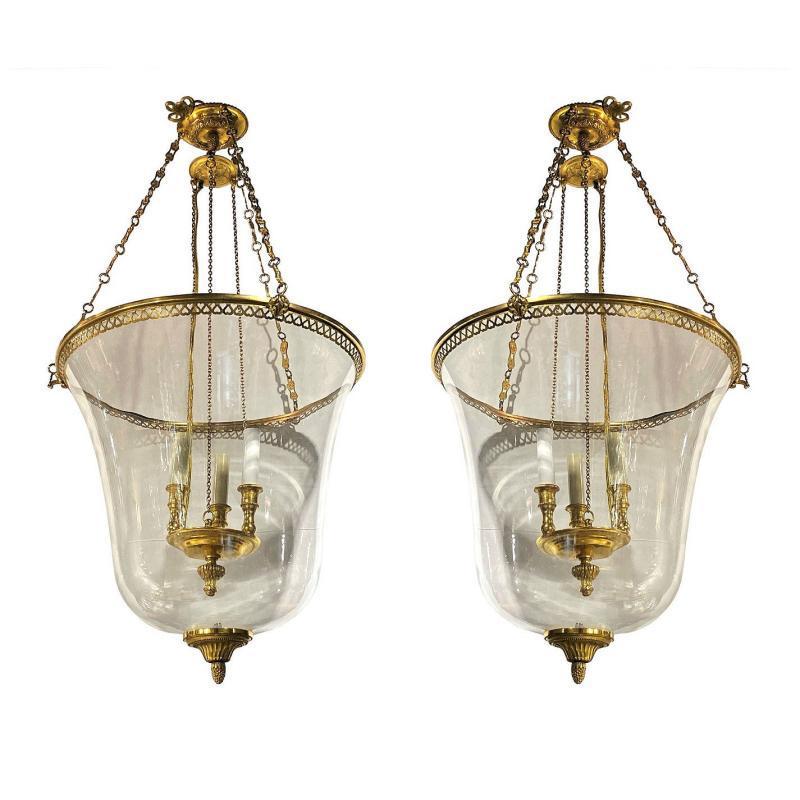 Pair Regency Style Gilt Bronze & Blown Glass Lanterns