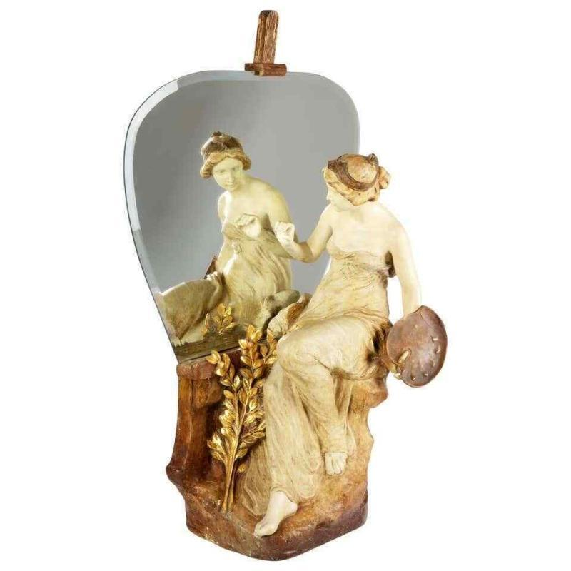 Goldscheider Terracotta Figure of Female Painter with Mirror