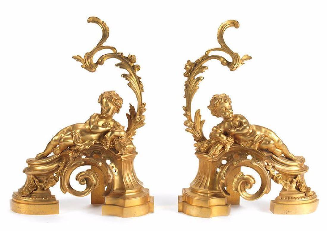 French Louis XV Rococo Style Gilt Bronze Figural Andirons