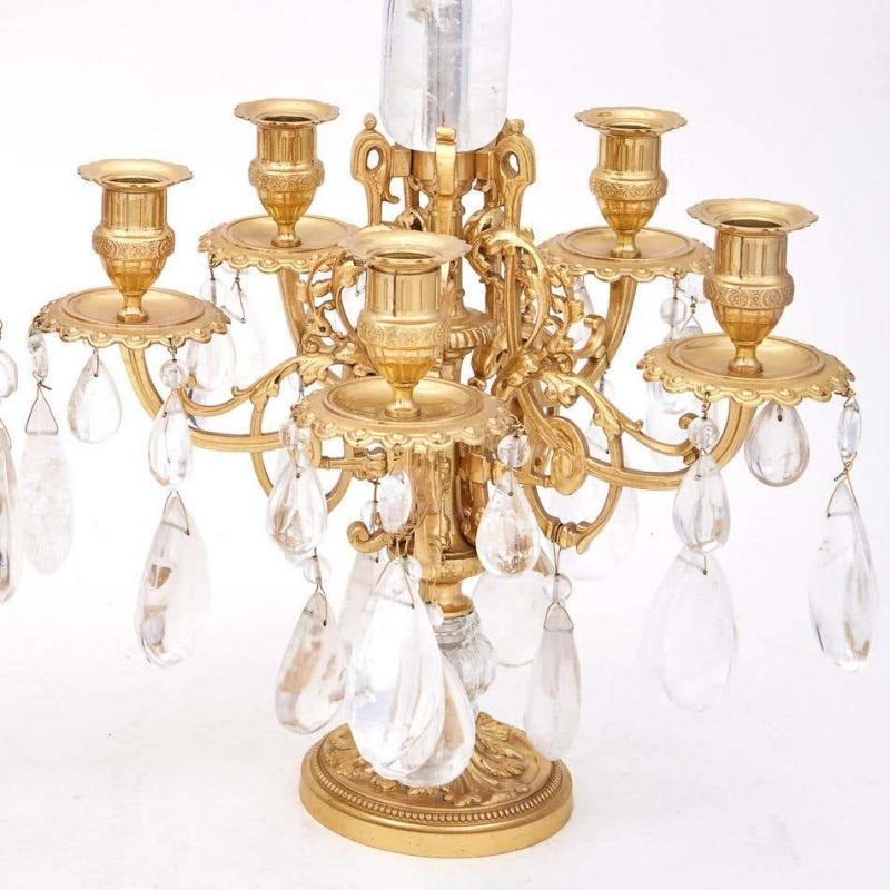 Louis XVI Style Gilt Bronze and Rock Crystal Candelabra