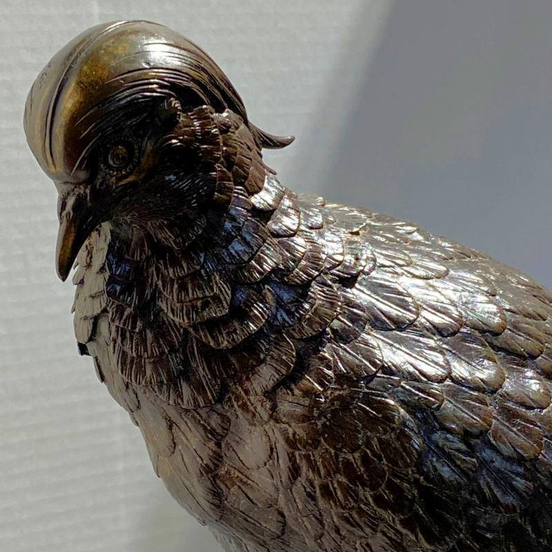 Meiji Japanese Pheasants Bronze Sculpture