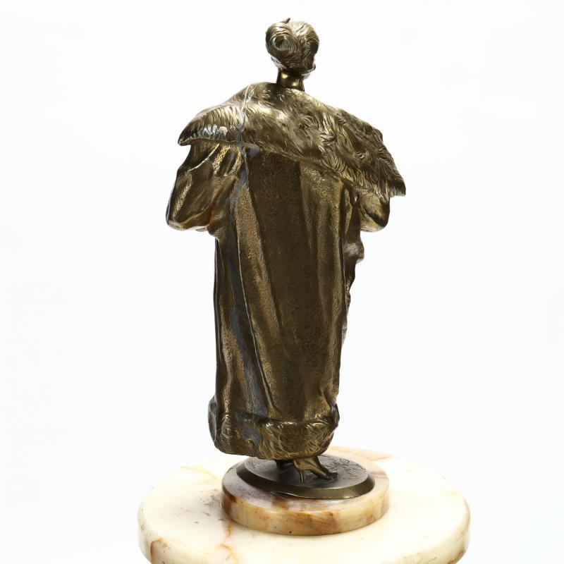 Figurative Bronze After Bruno Zach with Brass Stand