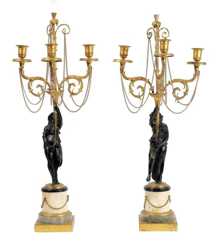 French Empire Period Gilt and Patinated Figural Candelabra