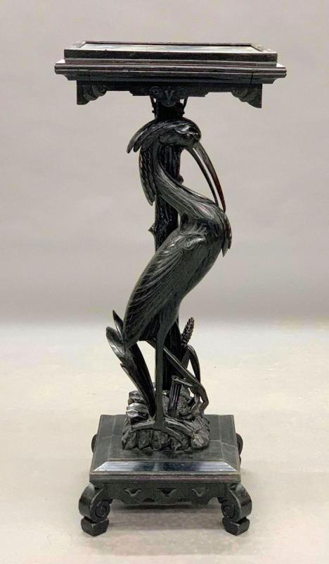 Aesthetic Ebonized Mahogany Pedestal Stand with Carved Heron or Egret