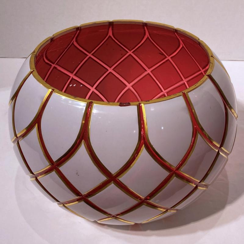 Parcel Gilt Cased White and Ruby Red Glass Punch Bowl