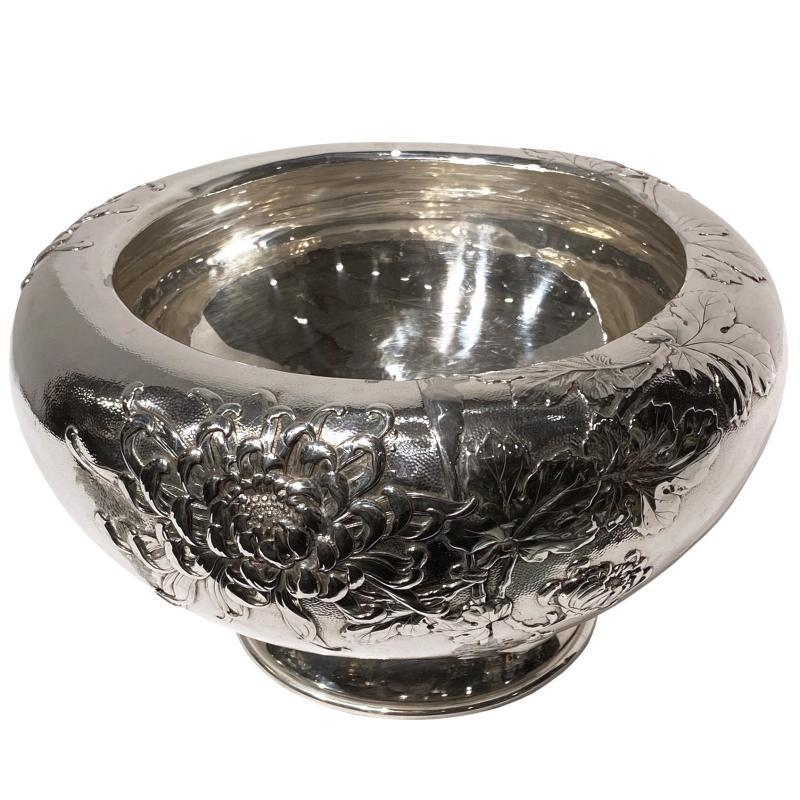 Japanese Repousse Silver Bowl with Chrysanthemum Designs