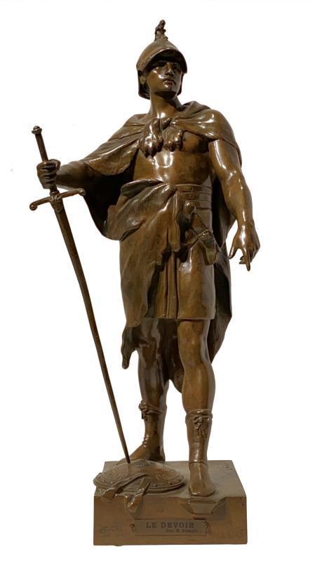 Le Devoir Bronze Figurine of Roman Soldier After Emile Picault (1833-1915)