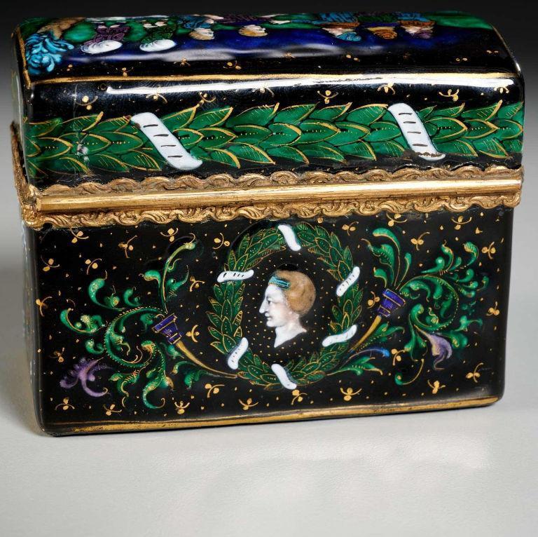 Limoges Enameled Glass Perfume Bottle Casket Necessaire