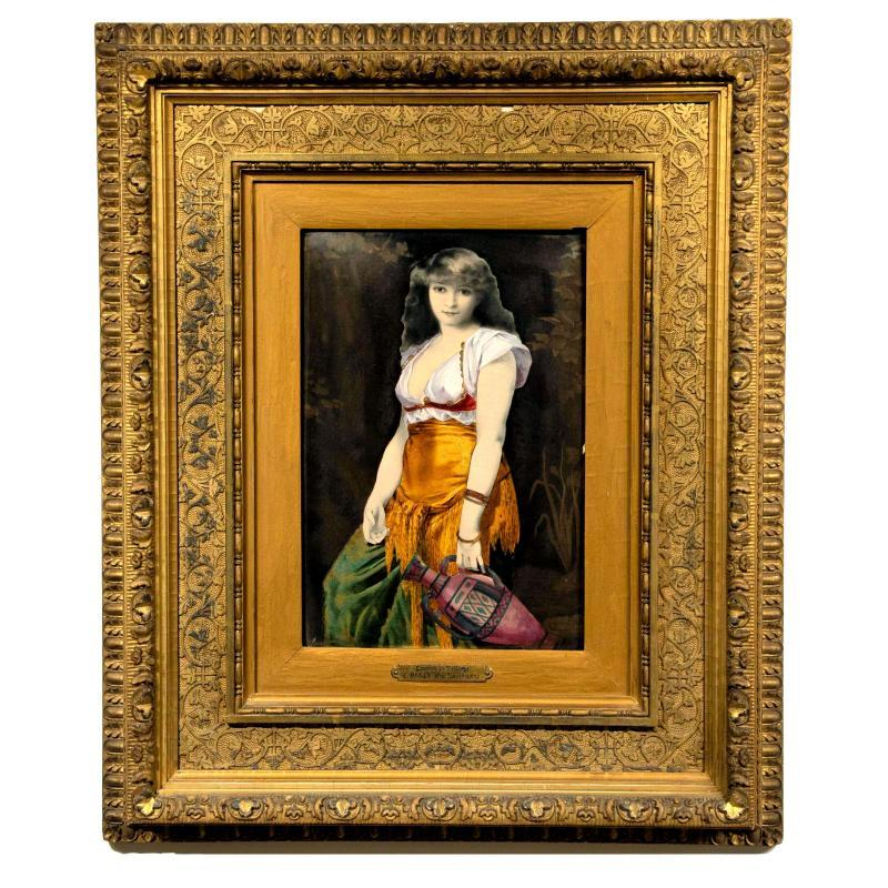 Orientalist Enamel Ceramic Plaque by Delforge After Gaston Saintpierre (1833-1916)