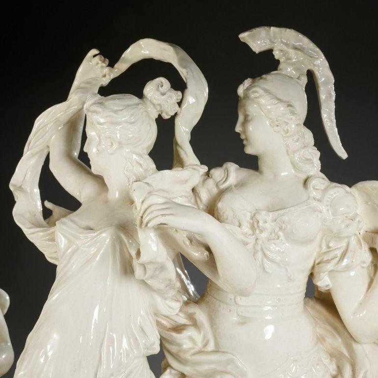 Greek Judgement of Pair Group Figurine in Creamware