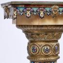 French Champleve Enameled Bronze and Onyx Pedestal -- Napoleon III Period