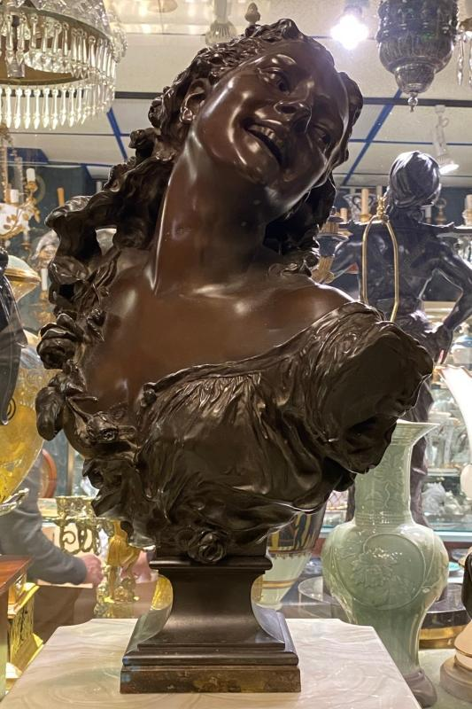 Jean Baptiste Carpeaux Bronze Bust of Maiden