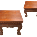 Pair South Asian Burmese or Anglo-Indian Carved Wooden Stands