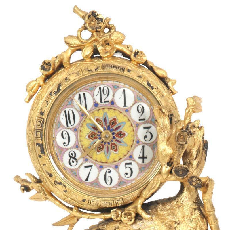 French Japonisme Peacock Form Gilt Bronze Mantel Clock