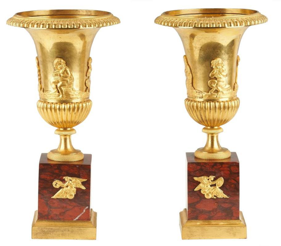 Pair Gilt Bronze and Marble Campana Vases