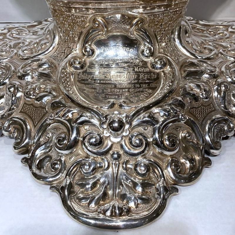 Monumental English Sterling Centerpiece from 1894 Dedicated to Mayor of Cork, Ireland
