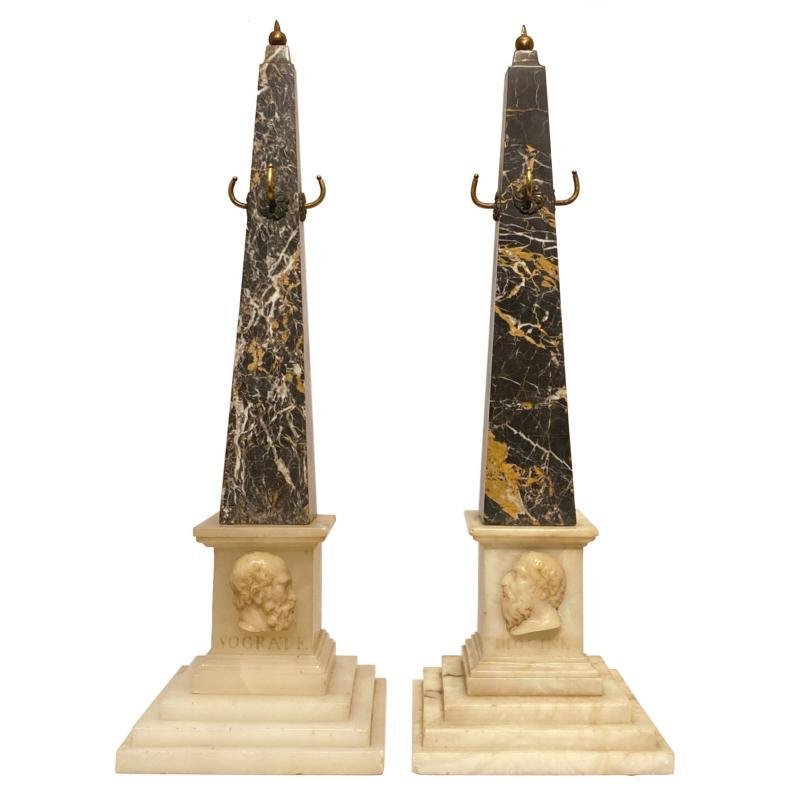 Greek Revival Marble Obelisks Depicting Socrates and Diogenes