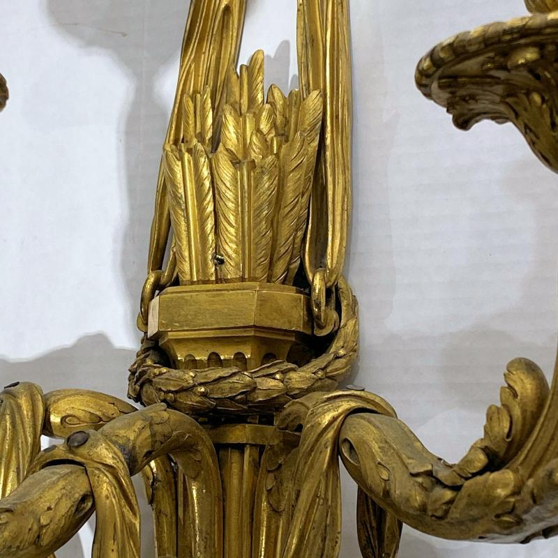 Louis XVI Style Gilt Bronze 3-Light Sconces