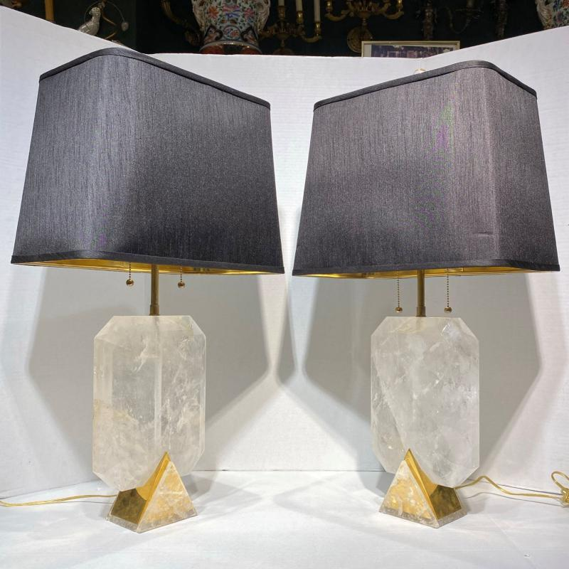 Vintage Rock Crystal and Brass Tables Lamp