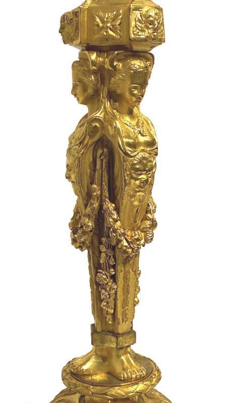 Louis XVI Style Gilt Bronze Candlestick Lamps