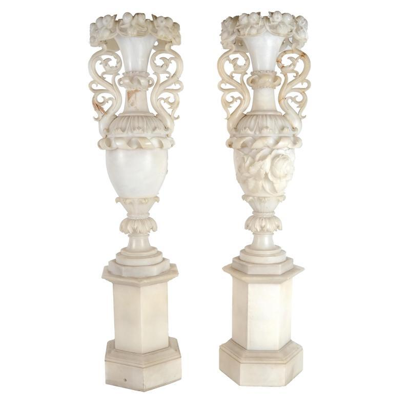 Large Italian Alabaster Urns Mounted as Lamps (34 in)