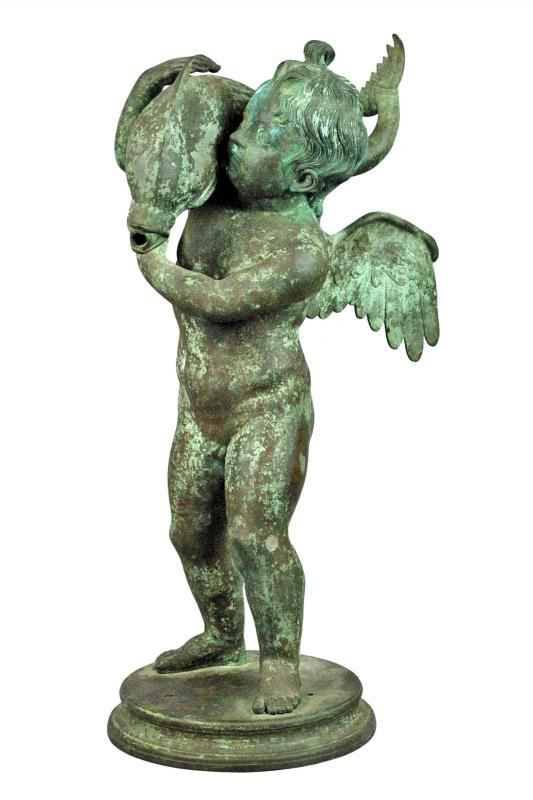 Antique Cherub with Dolphin Bronze Fountain Attributed to Chiurazzi