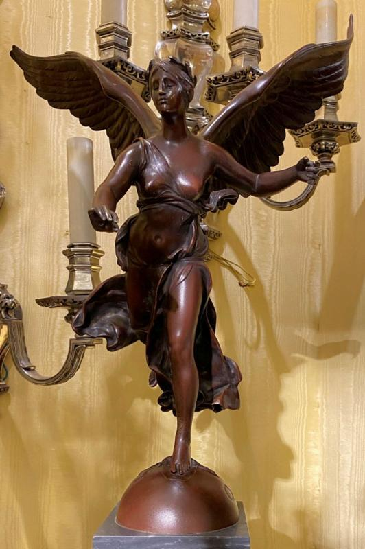 Nike Bronze Figurine After Paul Jean Baptiste Gasq (1860-1944)