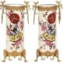 Pair French Japonisme Faience Vases Attributed to Criel-Montereau
