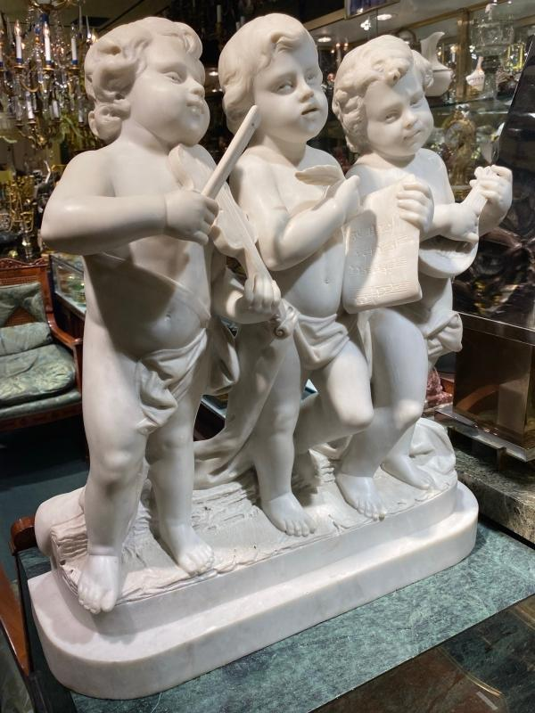 Antique Italian Carved Marble Sculpture of Putti Musicians