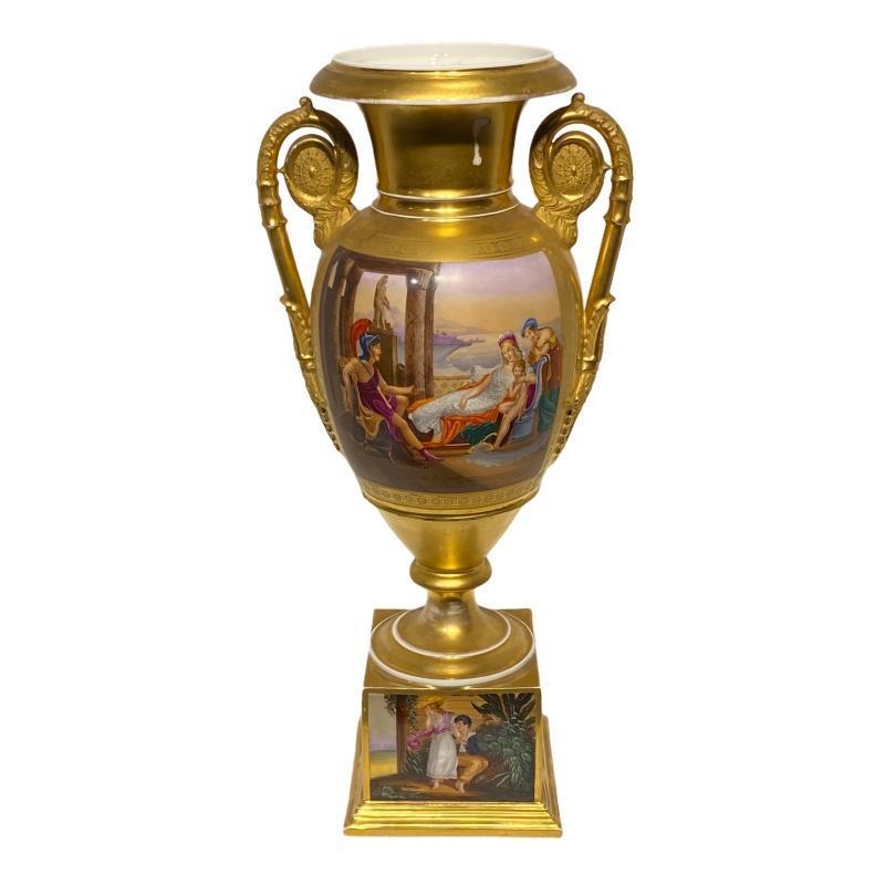 Large Paris Porcelain Vase with Roman Motif -- 22 in