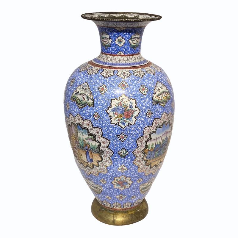 Persian Enamel Metal Vase