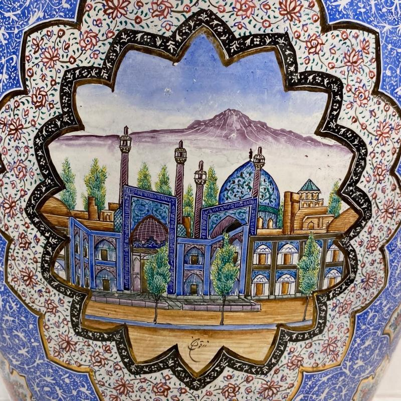 Persian Enamel Metal Vase
