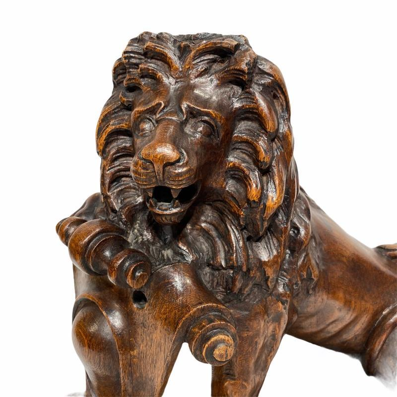 Carved Wooden Lion Figurine Sculptures