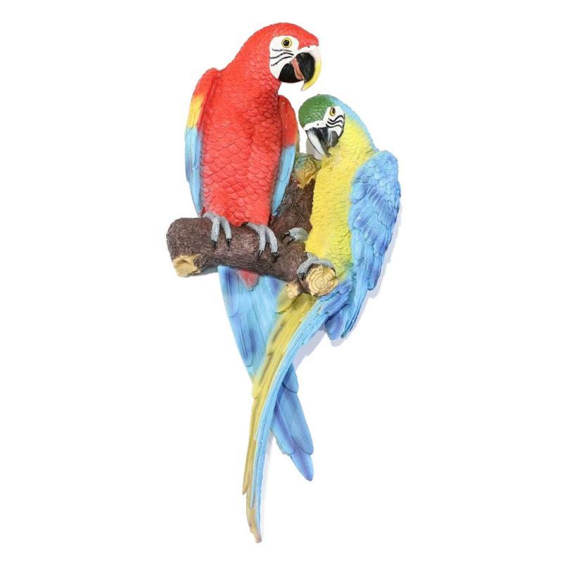 Pair of Perched Parrot Plaster Figures