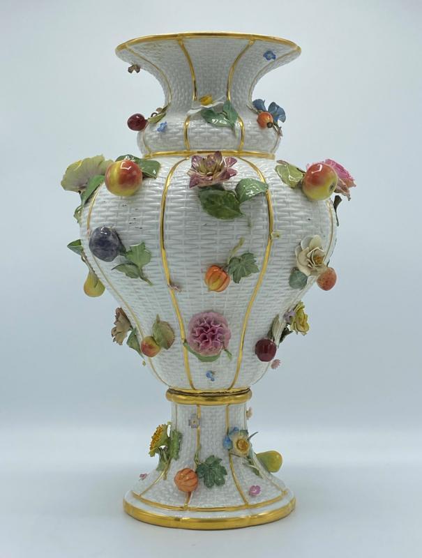 Meissen Fruit and Flower Encrusted Porcelain Vase