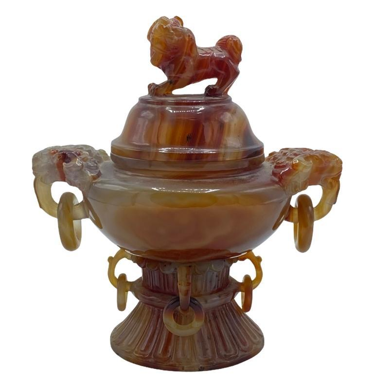 Chinese Carved Agate Jar with Foo Dog Finial