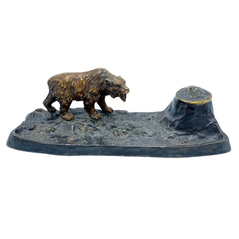 Brown Bear Figural Bronze Inkwell