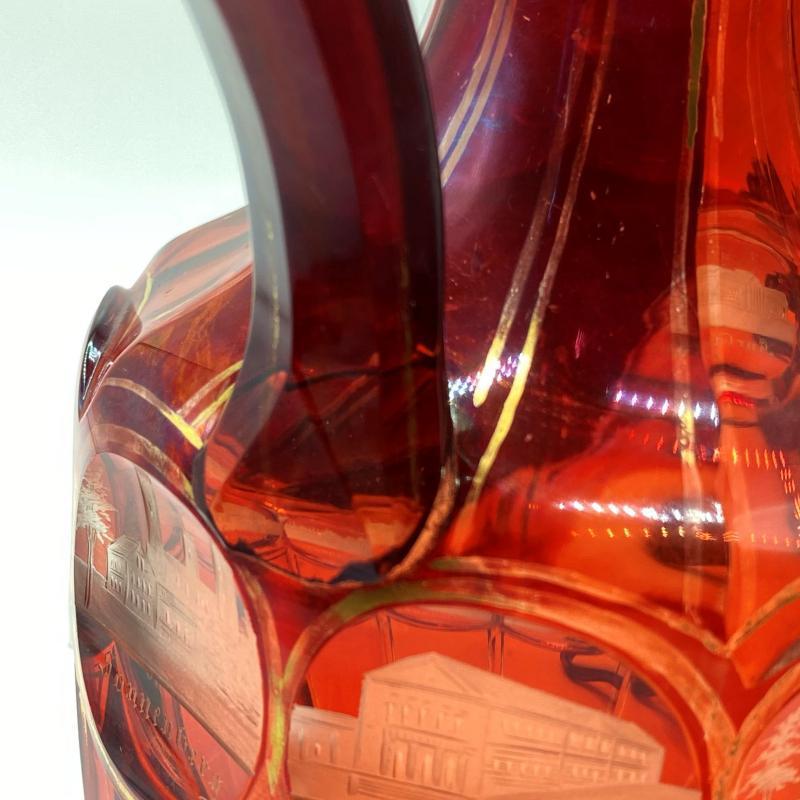 Pair Bohemian German Etched Glass Ewers