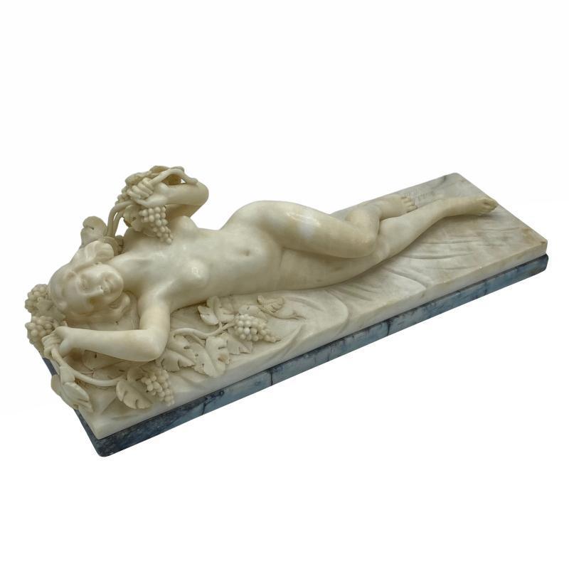 Alessandro Michelotti Neoclassical Reclining Nude Alabaster Sculpture