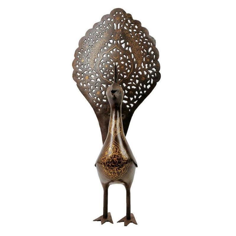 Qajar Persian Peacock Metal Figurine Sculpture
